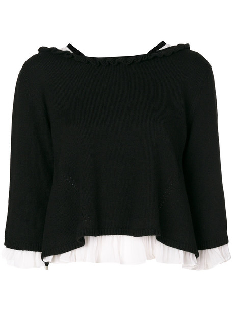 top knitted top pleated women black wool