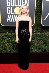 dress,black dress,dove cameron,strapless,Golden Globes 2018,prom dress,gown,red carpet dress