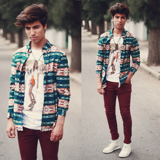 shirt aztec print menswear indie hipster tribal pattern hipster menswear