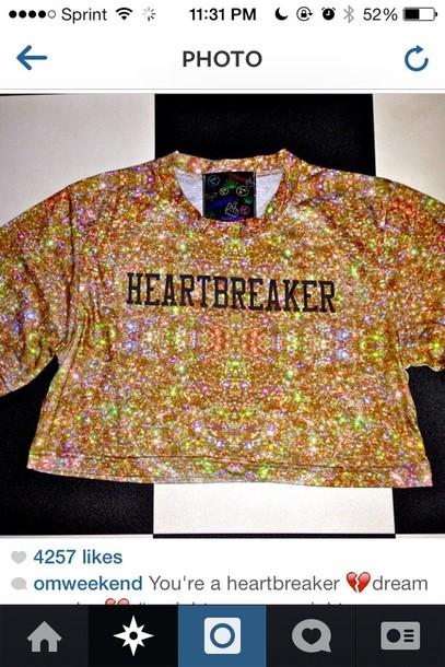 shirt glitter sadgirl heartbreaker crop tops