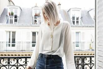 my dubio blogger white blouse platinum hair