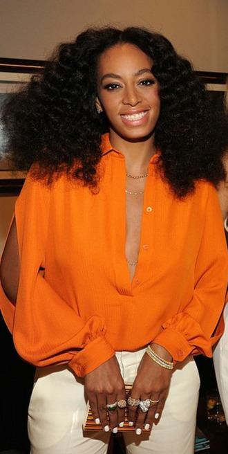 blouse solange knowles orange blouse plunge slit sleeves collar orange chime for change