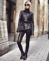 top,blouse,black blouse,snake print,leather pants,black pants,skinny pants,ankle boots,black boots,belt bag,turtleneck,sunglasses