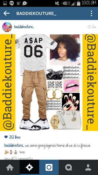 cargo pants outfit idea baddiekouture_ jewels bag t-shirt white t-shirt asap rocky air jordan bandana hoop earrings pink lipstick nails gold watch michael kors bag outfit ootd asos instagram