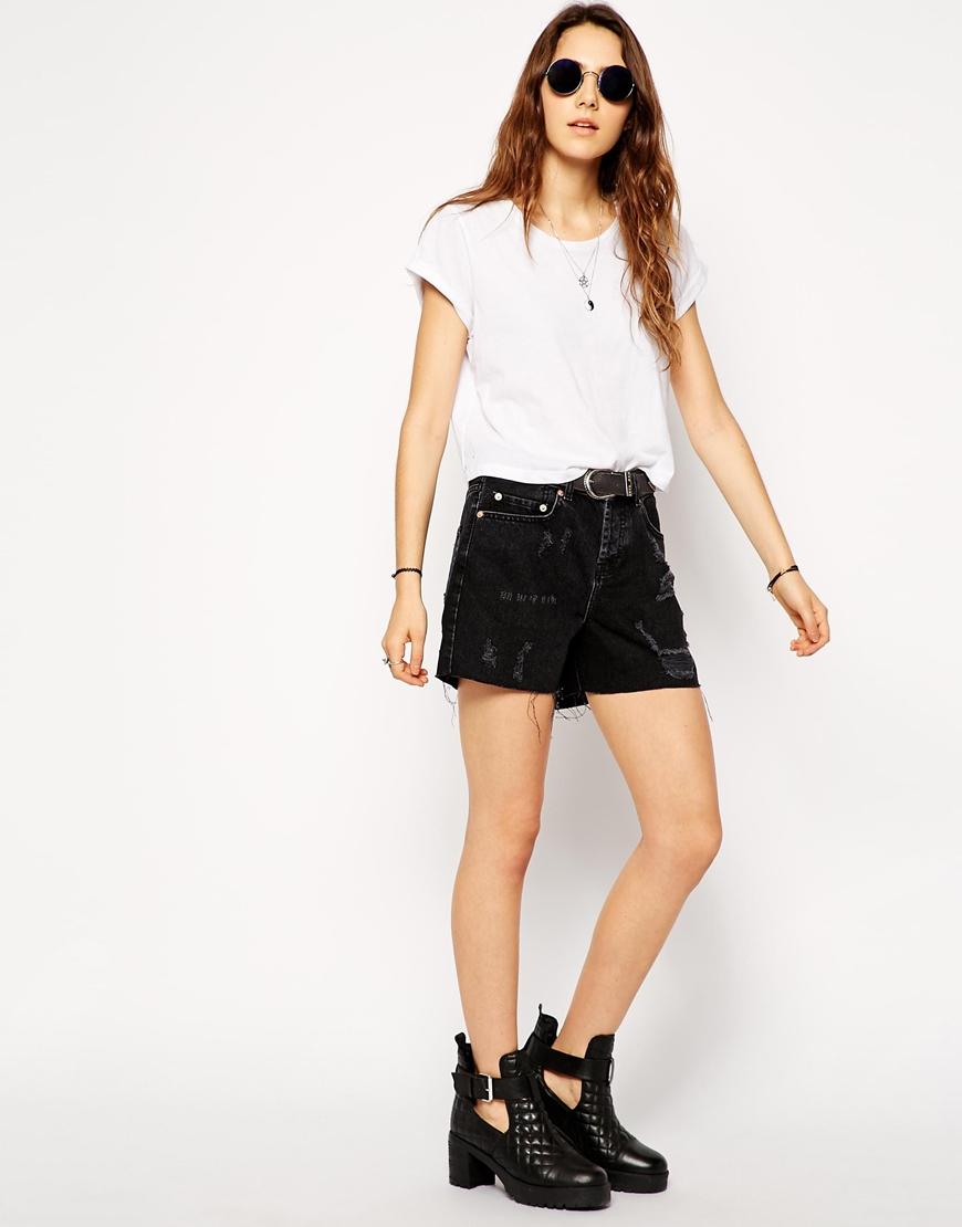 ASOS Denim Girlfriend Shorts in Washed Black at asos.com