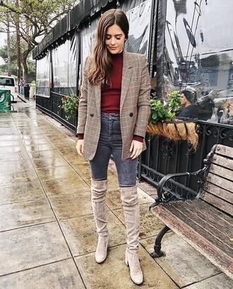 jacket blazer plaid blazer plaid top turtleneck grey jeans boots nude boots jeans