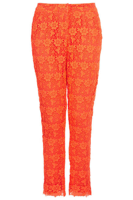 Topshop Orange Fluro Floral Lace Trousers - Designer Lace for Women - ELLE
