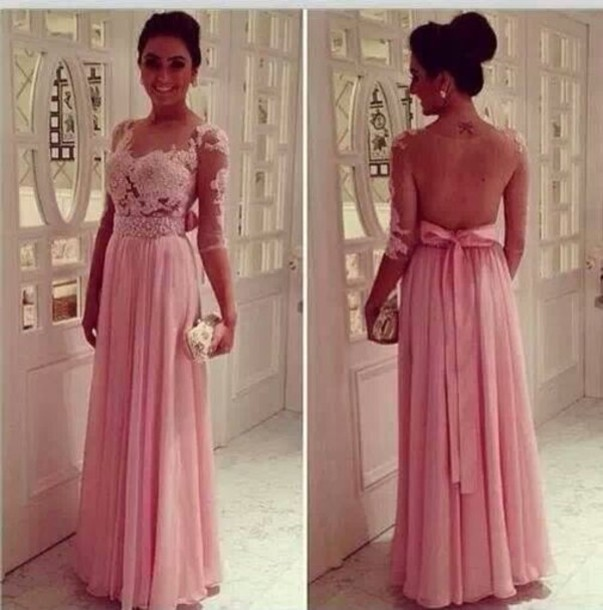 Dress Rose Pink Dress Lace Dress Long Prom Dress Blouse Pink