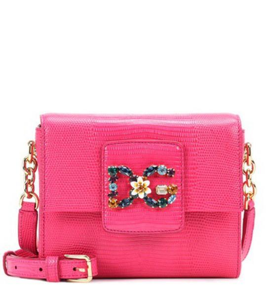 Dolce & Gabbana DG Millennials Mini leather shoulder bag in pink