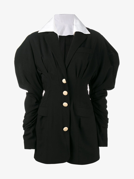 Jacquemus puff sleeve mini dress, Women's, Size: 42, Black, Wool/Cotton