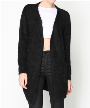 FLUFFY LONGLINE CARDIGAN | Knitwear | Jumpers   Cardigans | Clothing | Shop Womens | General Pants Online