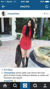 dress,red,kylie jenner dress,long sleeves