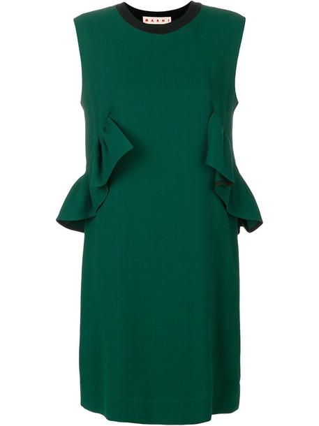 MARNI dress ruffle dress sleeveless back ruffle women cotton wool velvet green