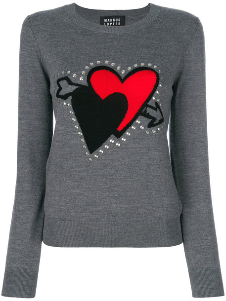 sweater heart embroidered women plastic grey