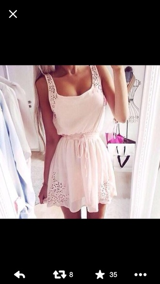 dress cream short short dress lace cute girly spring bridal shower white synched waist love cream dress