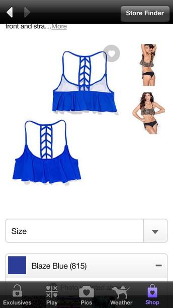 swimwear victoria secret pink ladder -back flounced  top pink by victorias secret ladder back flounce top blue swim top