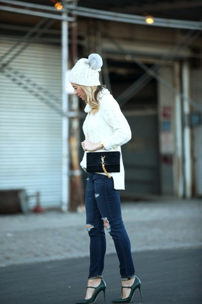brooklyn blonde blogger shoes bag pom pom beanie ripped jeans knitted sweater saint laurent