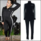 jumpsuit,casual jumpsuit,sportswear,activewear,workout,gym,fitness,joggers,clubwear,long jumpsuit,jumpsuit black,adidas pattern,adidas tripes,striped jumpsuit,sexy,bodycon jumpsuit,long sleeves,black,sexy bodycon jumpsuit,casual,tumblr adidas,sweats,adidas sweatpants,moraki,overalls,tumblr girl,adidas sweater
