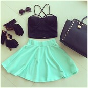 top,black crop top,skirt,bag,sunglasses,shoes,mint,mint skater skirt,mint skirt,studded bag,black studded bag,round sunglasses,black round sunglasses,black,mint and black outfit,outfit,ootd