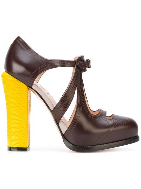 Fendi cut-out women pumps leather brown shoes