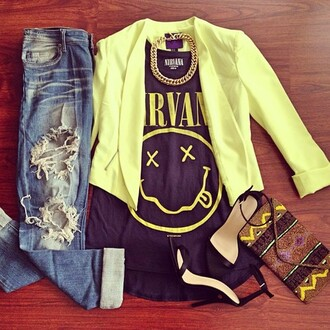 shirt nirvana band heels jeans blazer gold yellow black indie boho bag band t-shirt dave krist kurt cobain coat shoes jewels ripped jeans neon high heels