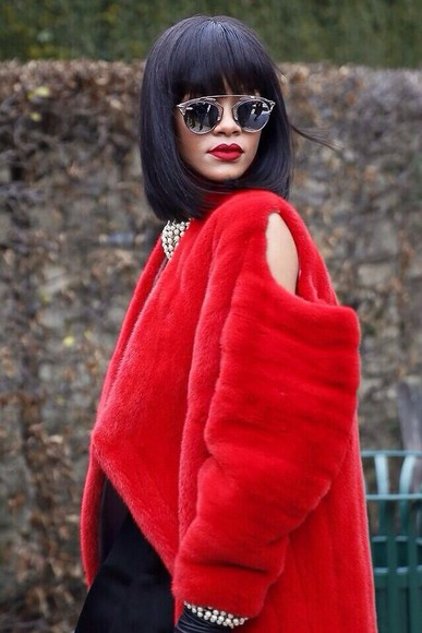 coat jacket fur red rihanna