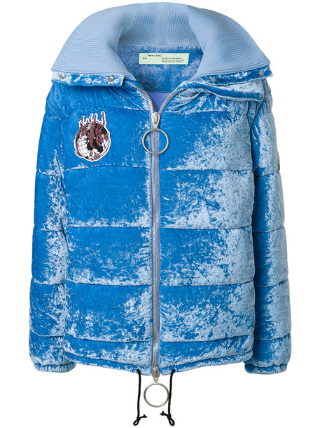 jacket puffer jacket women blue silk