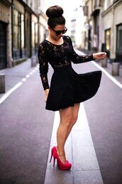 dress,black dress,black lace dress,lace dress,knee length dress,sunglasses,shoes