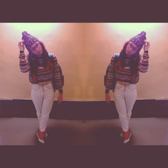 studs sweater white beanie aztec aztec sweater red dip dye backpack shoes crop tops hat high waisted pants jeans