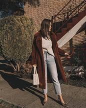 coat,faux fur coat,brown coat,topshop,handbag,plaid,shoes,jeans,sweater