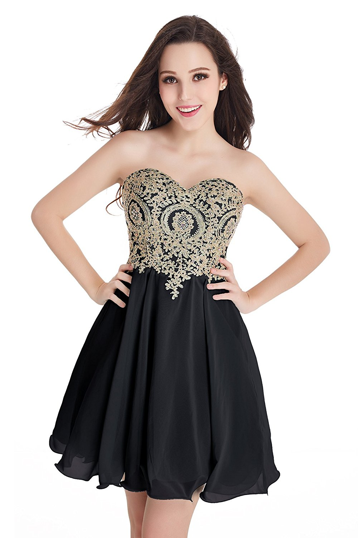 0ea447915af MisShow Juniors Short Homecoming Dress Gold Lace Appliques ...
