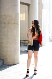 hautepinkpretty,blogger,jacket,dress,jewels,shorts,shoes,sandals,bodysuit