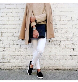 coat fall outfits camel camel coat minimalist jeans tumblr white jeans sweater nude sweater beige sweater winter coat slip on shoes black shoes pouch black pouch watch casio watch