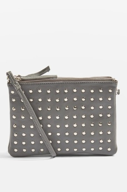 Topshop cross studded bag leather grey