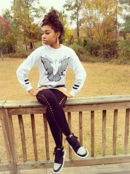 crewneck shirt butterfly leggings