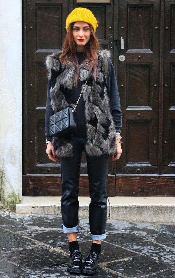 marie zamboli jacket bag shoes jewels printed fur vest