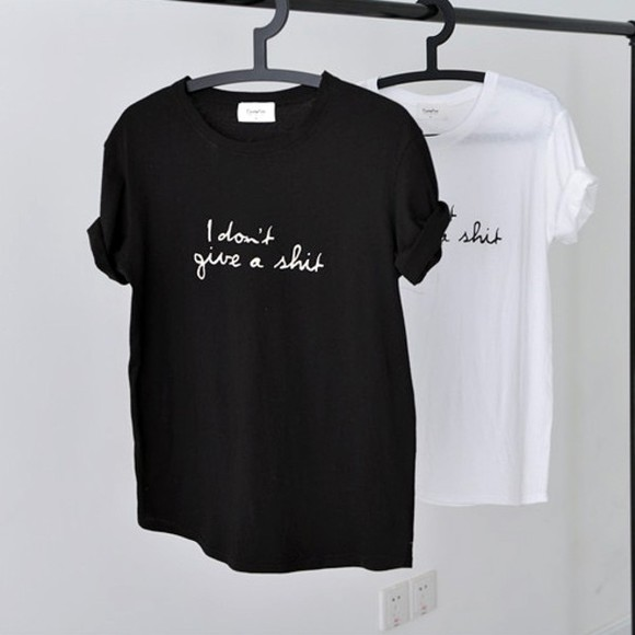 black white simple cute t-shirt top women t shirts plain writing cursive