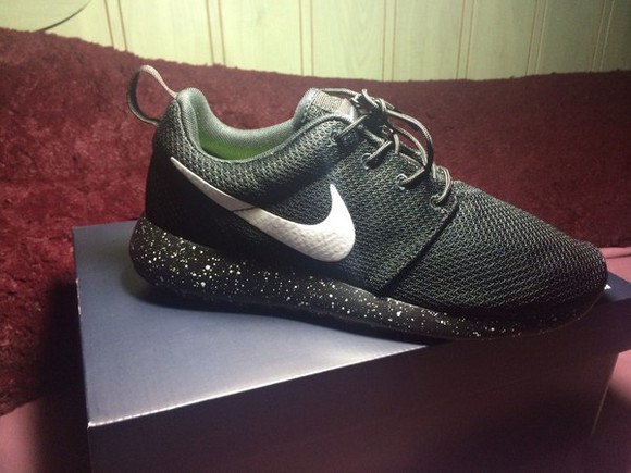 black and white roshe runs sneakers colorful