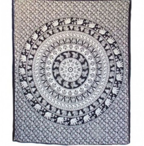 Magical Thinking Floral Elephant Indian Tapestry - HandiCrunch.com