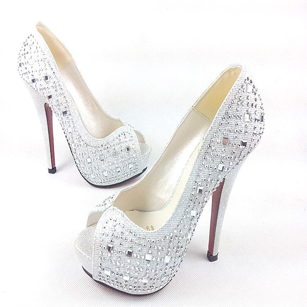 shoes silver high heels heels red bottoms