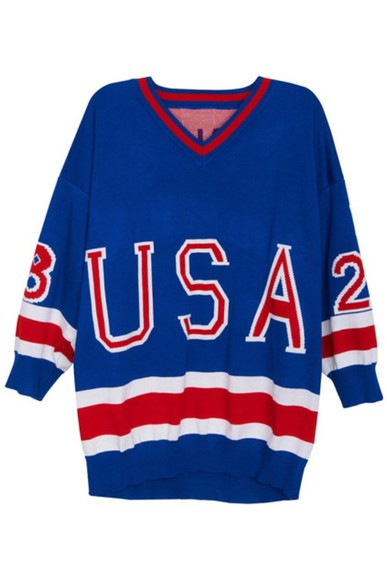usa red blue sweater white oversized