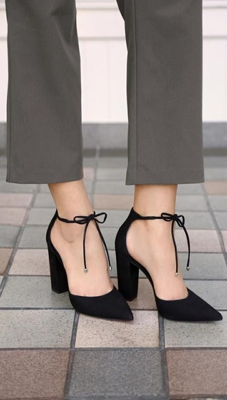 shoes heels heel bow bows laces black tipped laces