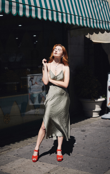 dress satin dress side split midi dress platform sandals earrings chain necklace