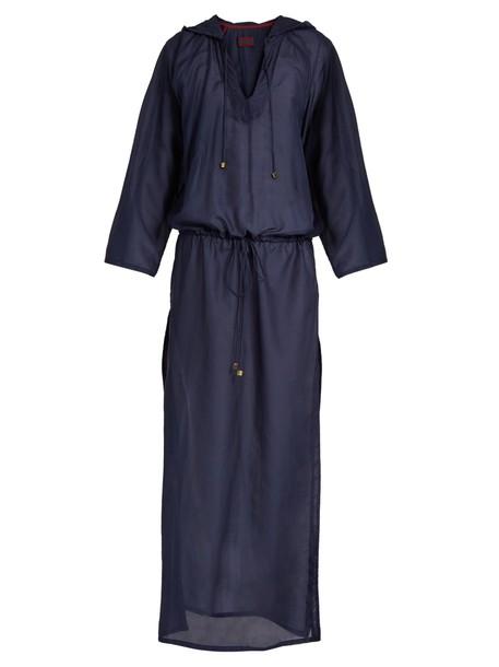 ALBUS LUMEN cotton silk navy top