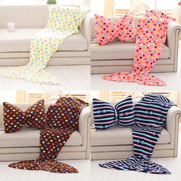 130cm Flannel Wave Point Stripe Mermaid Tail Blanket Home Office Crylic Warm Soft Sleep Bag - Newchic