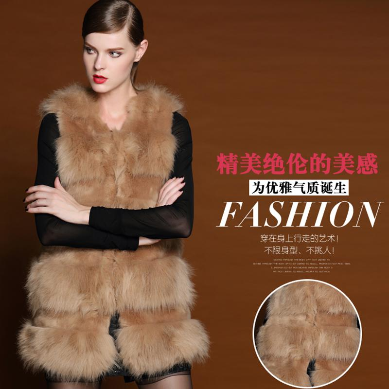 Buy hot sale!! lady vests shawl 2014 clothing fashion european style faux fur vest winter warm coat outwear long hair jacket waistcoat tops, $42.94