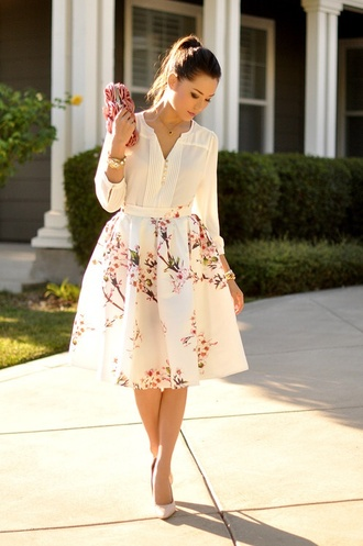 scarf white flowers blouse clutch heels skirt flower skirt romantic spring cream blouse floral skirt white dress midi skirt floral midi skirt floral spring outfits full midi skirt