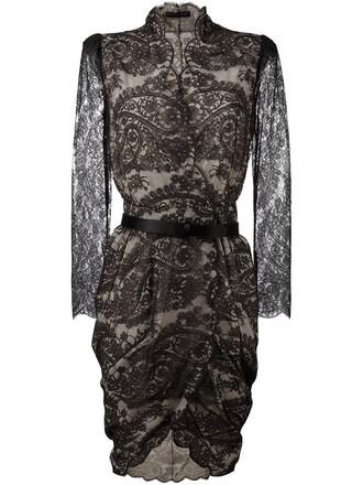 dress lace dress draped lace black