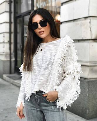 sweater tumblr white sweater fringes fringe sweater sunglasses