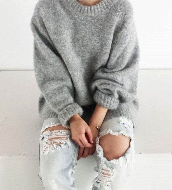 sweater grey sweater grey knitwear oversized. Black Bedroom Furniture Sets. Home Design Ideas
